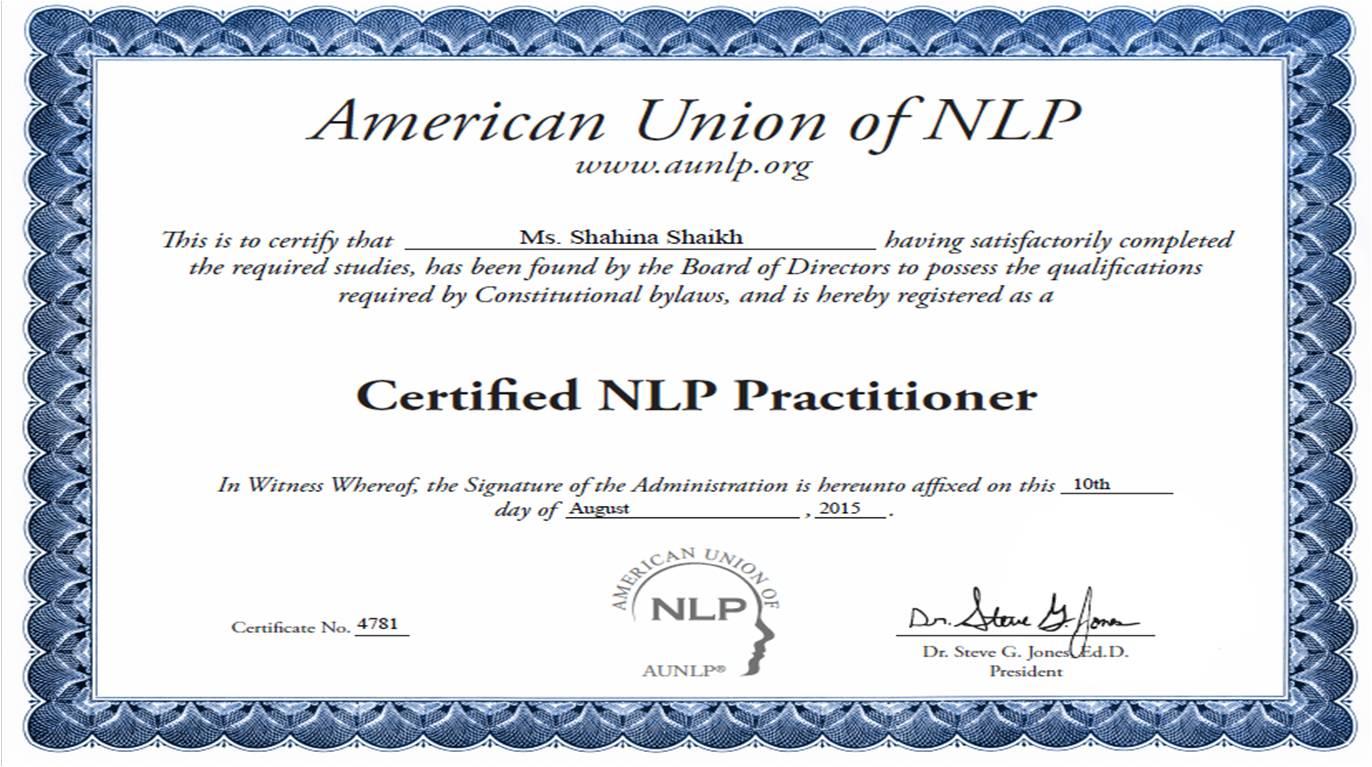 NLP Practitioner Certificate | Shahina Shaikh