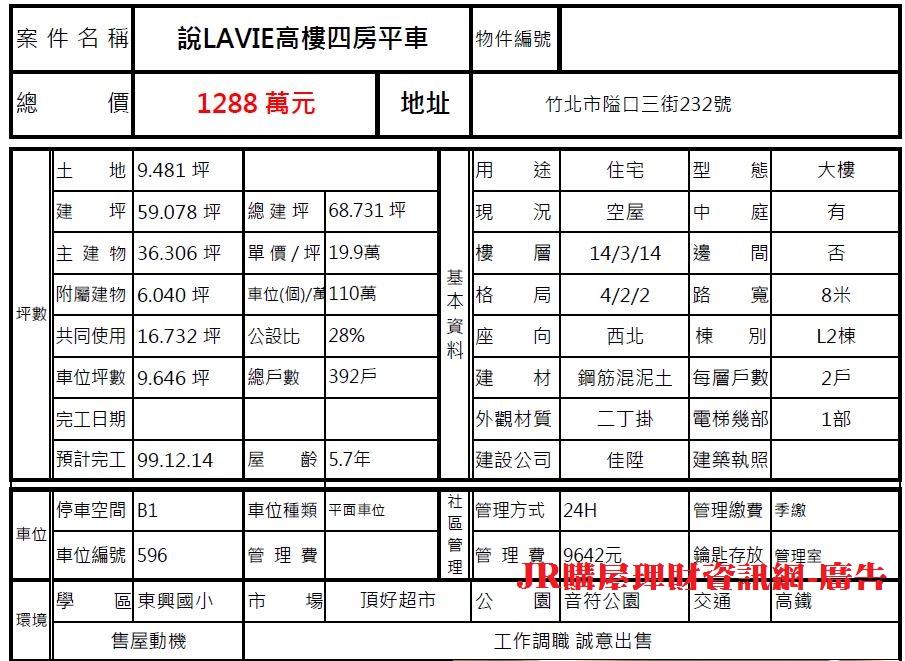 JR購屋理財-房地產【買賣租售】資訊站: 說LAVIE高樓四房平車