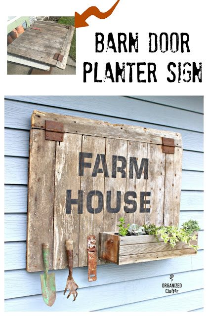 DIY Barn Door Sign/Planter Box  #stencil #barnwood #oldsignstencils #farmhouse #junkgarden #gardenjunk