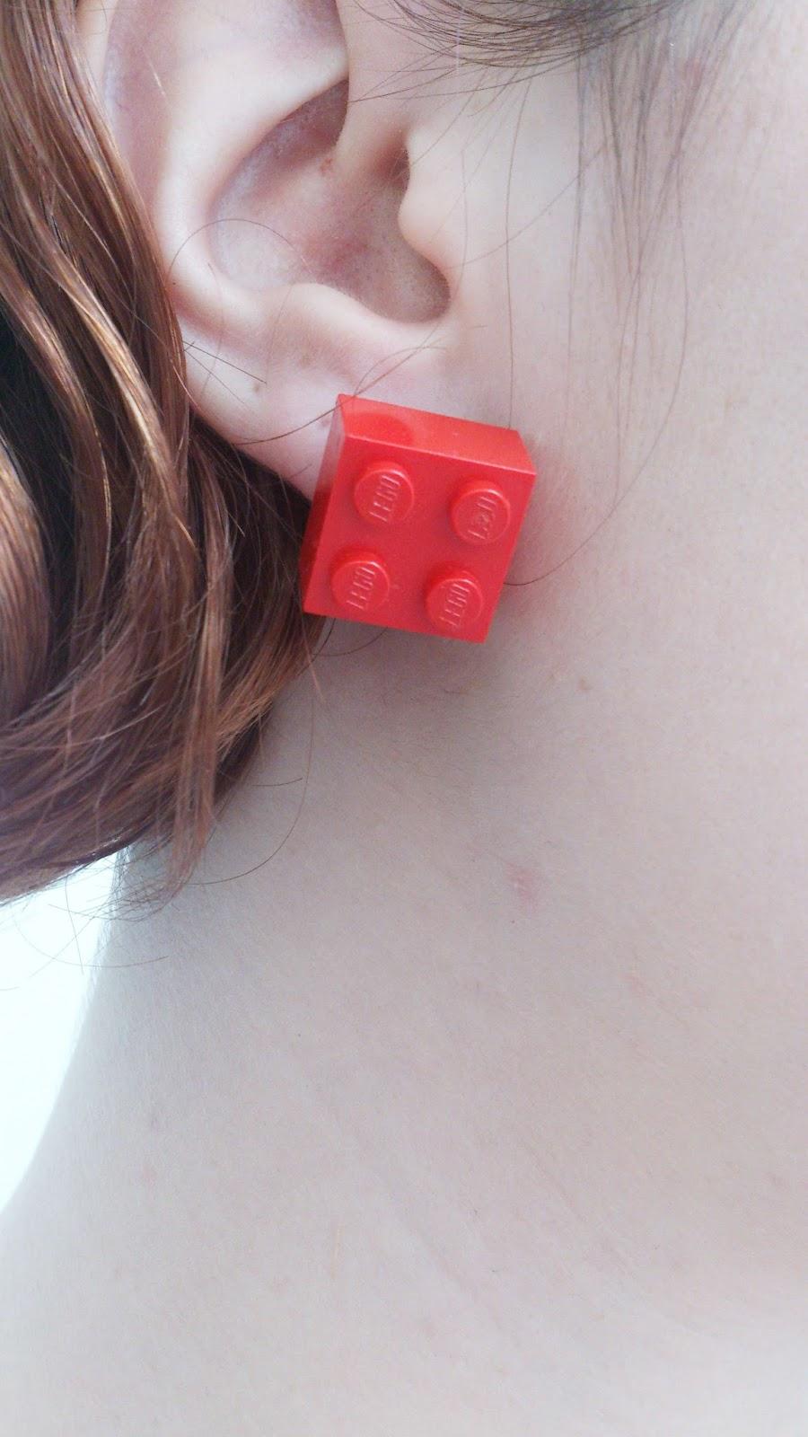 boucles d'oreilles lego rouge