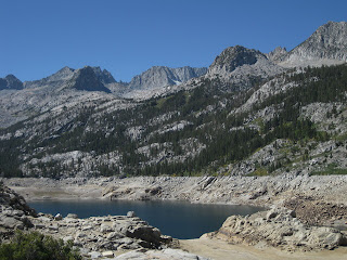 Low water level at South Lake, Eastern Sierras, California