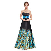 Black And Blue Open Back Bridesmaid Dresses With Peacock feathers Print
