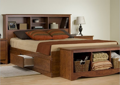Monterey Cherry Double / Full Bookcase Platform Storage Bed