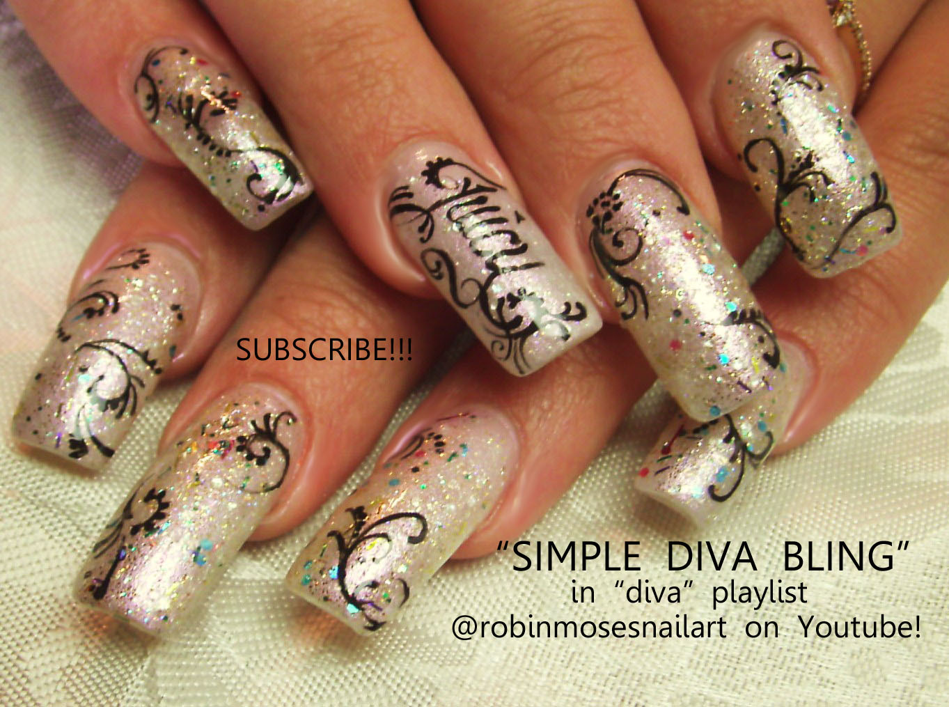 Nail Art By Robin Moses Black And White Nails Nail Art Black