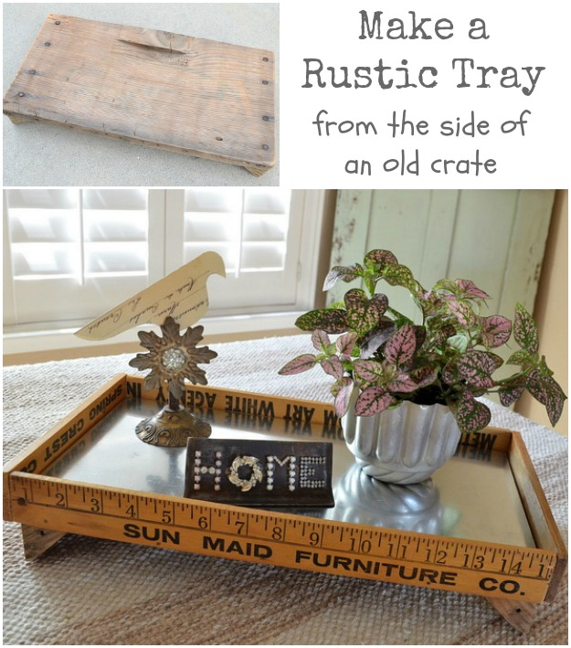 how to make a rustic tray from salvaged junk