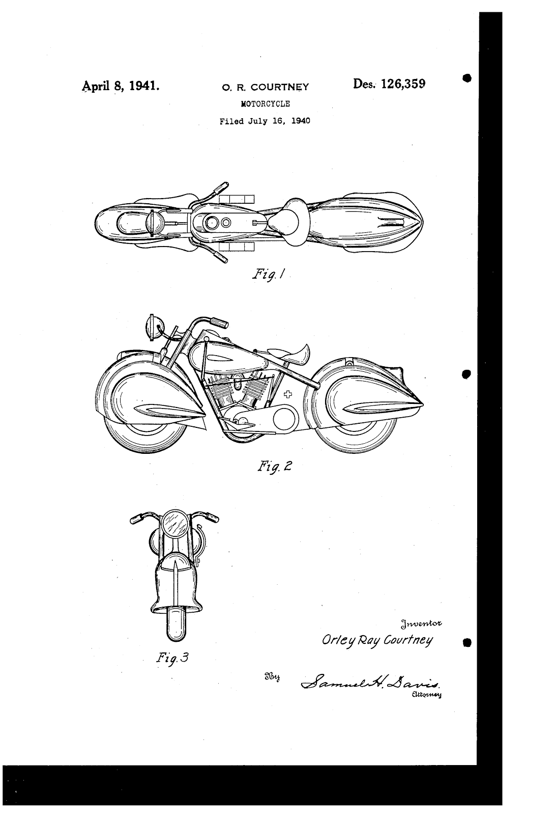 Courtney Aero Squadron motorcycle patent