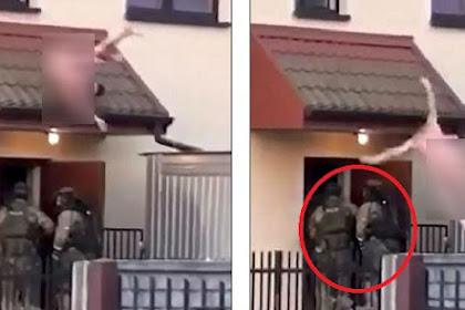 Digerebek, Penjahat Telanjang Melompat Keluar Langsung ke 'Pelukan' Tim SWAT