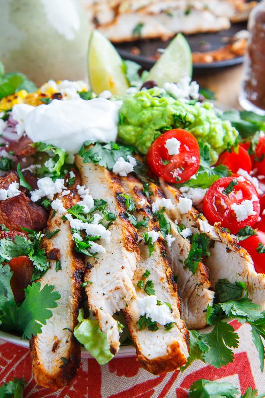 Texmex Grilled Chicken Salad in Creamy Avocado Salsa Verde Dressing