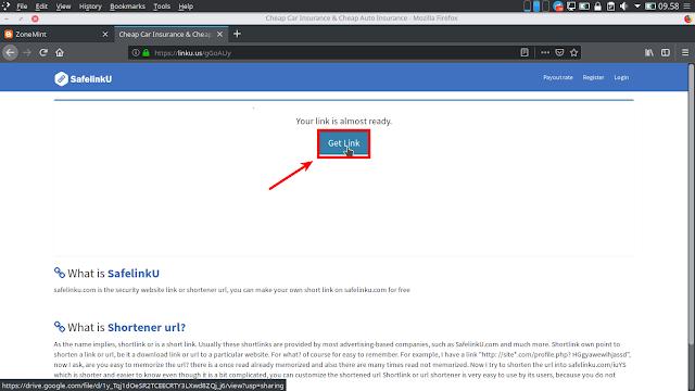 Klik Get Link Safelinku