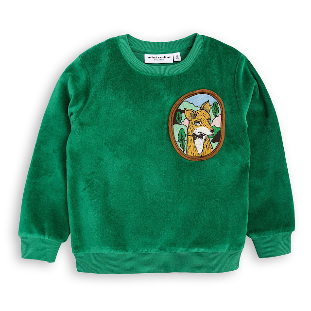 Mini Rodini Fox Velour Sweatshirt - Green