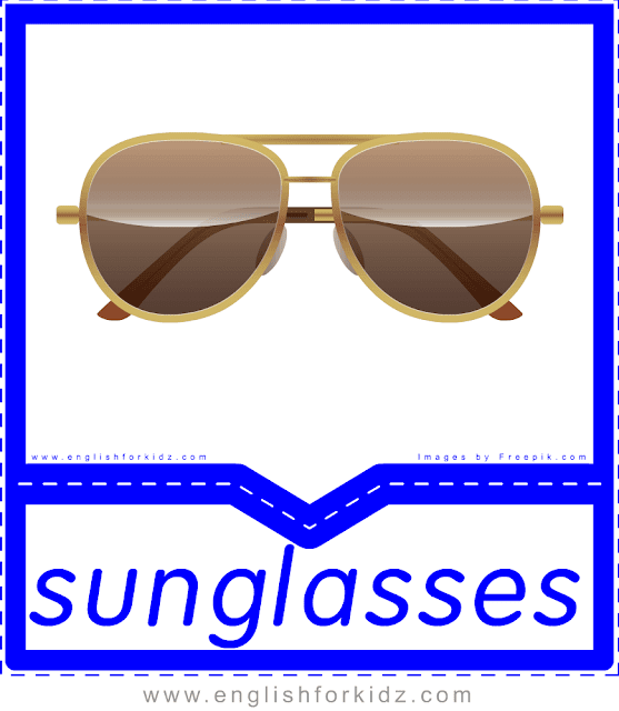 Sunglasses - English clothes and accessories flashcards for ESL students