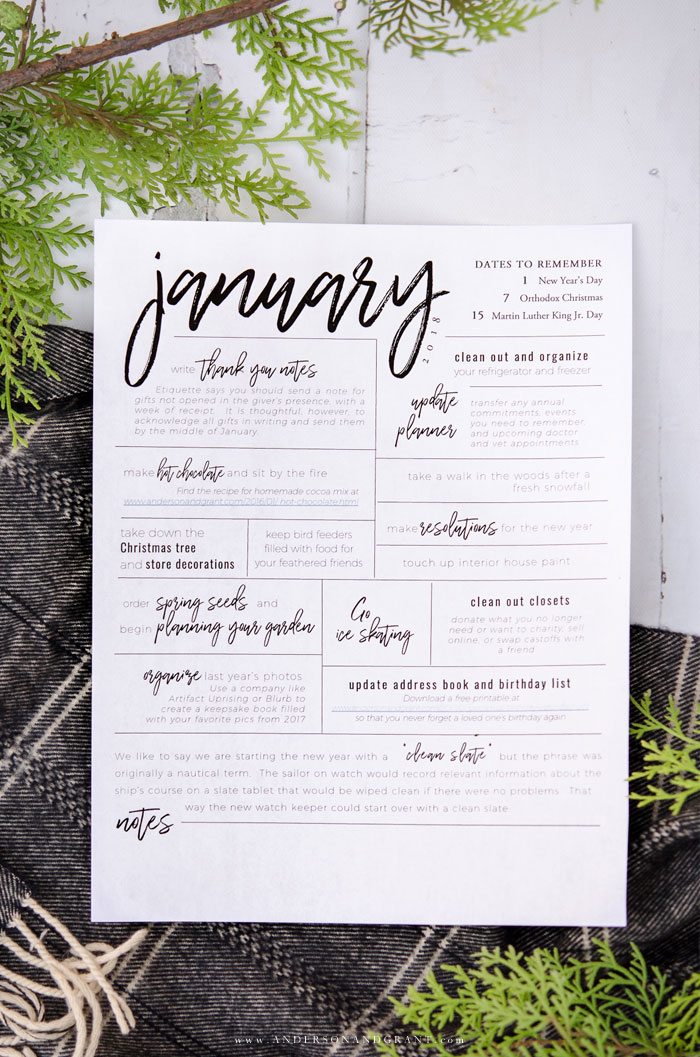 Stay organized and inspired in 2018 with these pretty free printables - an inspirational quote, monthly calendar, and to do list.  |  www.andersonandgrant.com