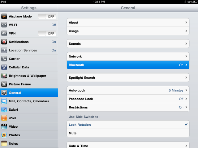ipad, general settings, bluetooth, menu, how to