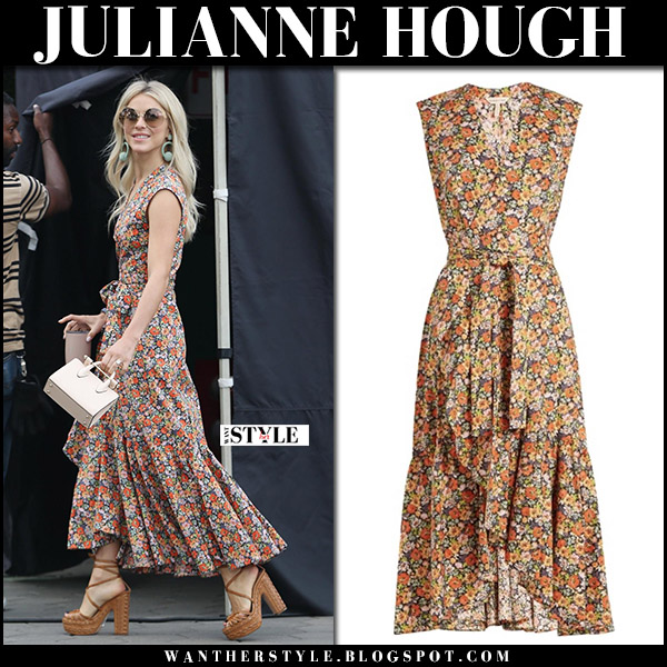 Julianne Hough in floral print sleeveless dress and brown sandals aclhimia di ballin october 3 2017 fall fashion