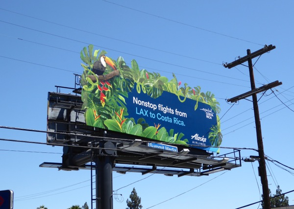 Alaska Airlines tropical foliage Costa Rica billboard