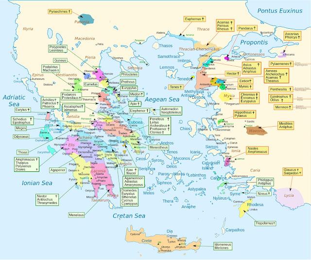 ilyada'da yer alan karakterlerin memleketleri haritası