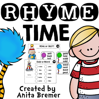 Activities to practice rhyming skills in Kindergarten and First Grade, including dab-a-word, read the room, word families, and more!