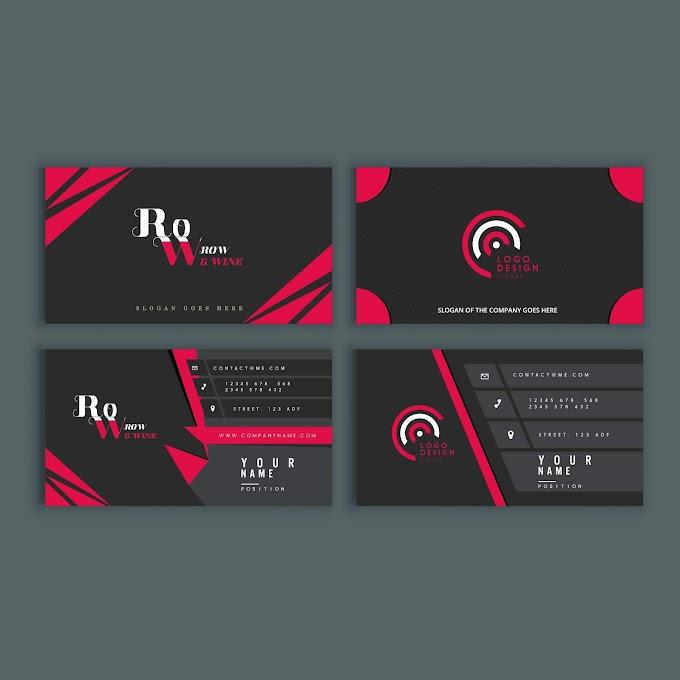 Business cards, best business cards templates modern elegant dark design Free vector (order business cards)
