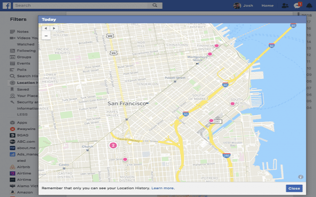 Entragam will share your location and the places you visit with Facebook