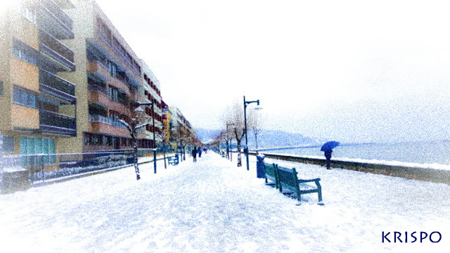 paseo butron de hondarribia nevado