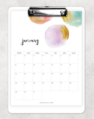 Free 2018 Printable Pretty Painted Calendar