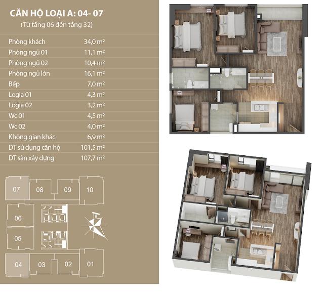 Thiết kế căn hộ 04 - 07 dự án Phú Mỹ Complex