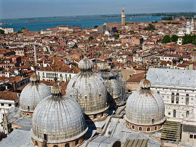 View of St. Mark's Basilica in Venice from bell tower