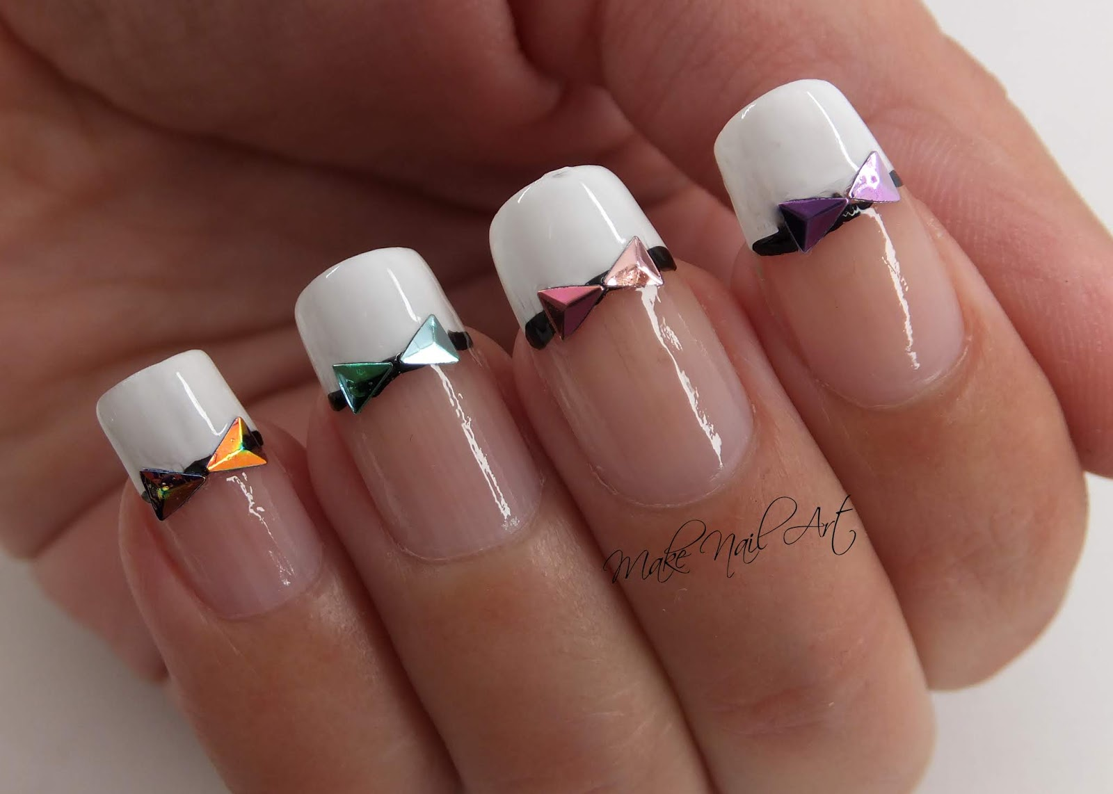 Make Nail Art French Manicure And Holographic Bows Nail Art Design