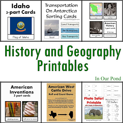 FREE History and Geography Printables from In Our Pond