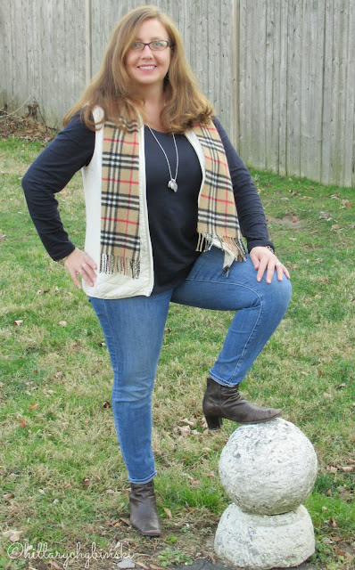 Casual Outfit: Navy T Shirt, Ivory Vest, jeans and Booties