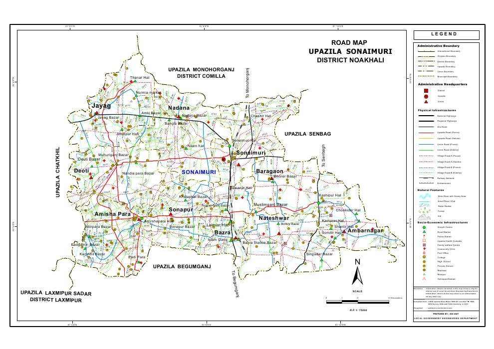 Sonaimuri Upazila Road Map Noakhali District Bangladesh