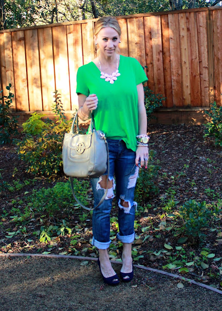 green tee with ripped denim
