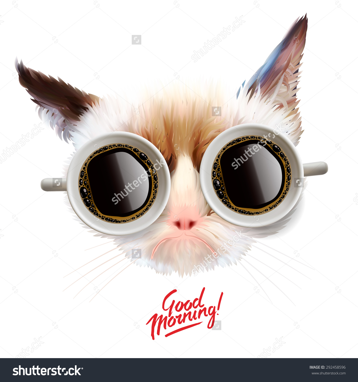 Cat Glasses Good Morning Tea Abstract Art