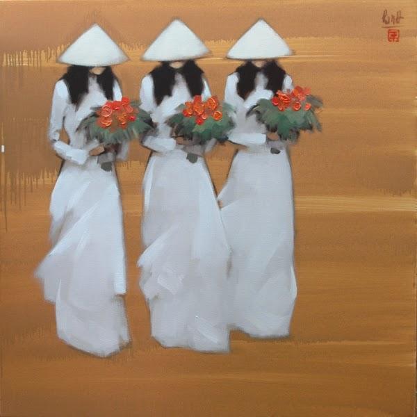 Meninas com Buquês - Thanh Binh e Suas Pinturas Elegantes - Vietnamita