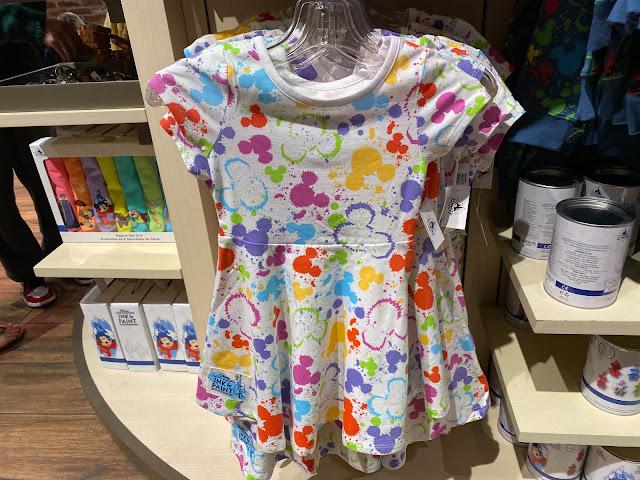 Ink & Paint Girls Rainbow Mickey Head Paint Splatter Dress