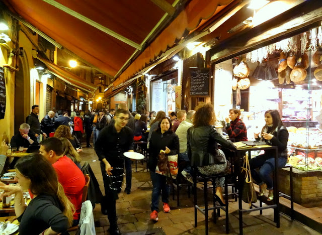 The Bar & Salumeria Scene at Via Pescherie Vecchie in Quadrilatero, Bologna