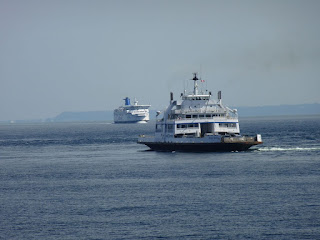 Ferries on the Pacific Ocean between mainland BC and Vancouver Island