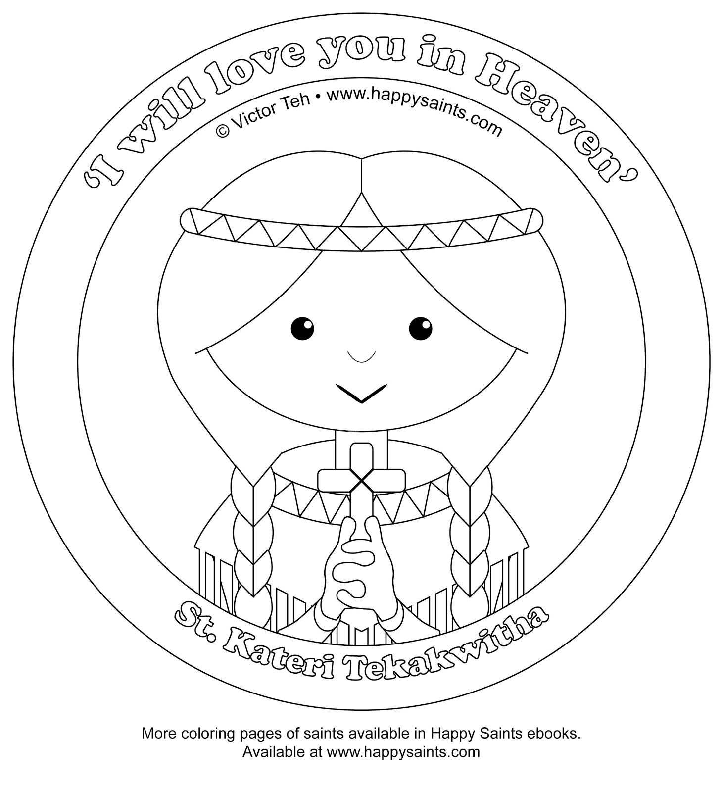 Happy saints coloring pages of st pedro and st kateri for St kateri coloring page