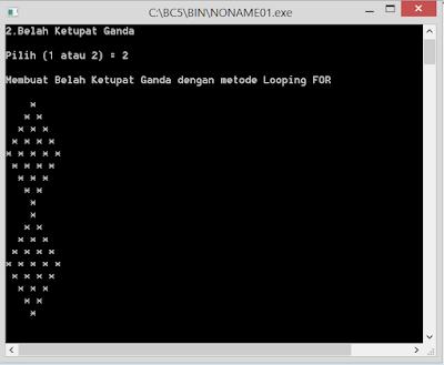 Contoh Program C++ Belah Ketupat ganda,dengan metode looping