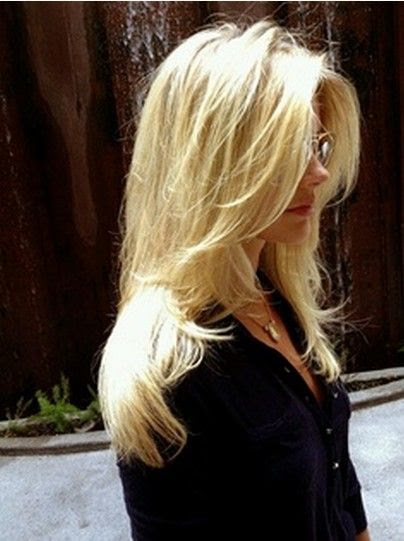 The Messy Styled Long Layered Hairstyle with Side Bangs for Long Blond Straight Hair - Amazing Views