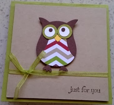 Just for you owl card Zena Kennedy Stampin Up independent demonstrator
