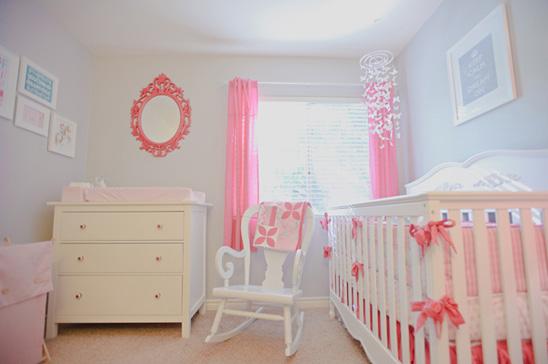 Dormitorio bebé rosa blanco
