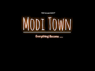 Modi Town Text PNG Download With Neon Light Effect