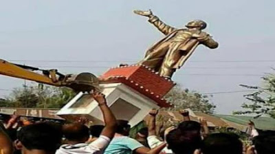 Tripura BJP Win Started With Vladimir Lenin Demolishing