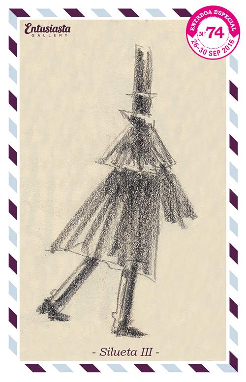 Personaje caminando, en silueta, con capa y galera.
