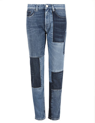 Marks and Spencer Patchwrok Cropped Skinny Leg Denim Jeans