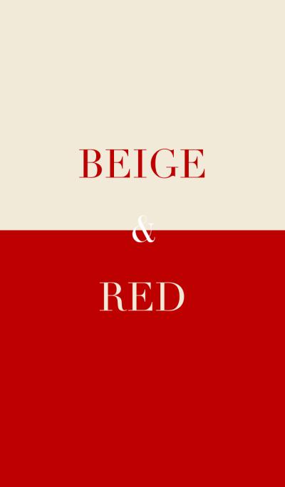 beige & red .