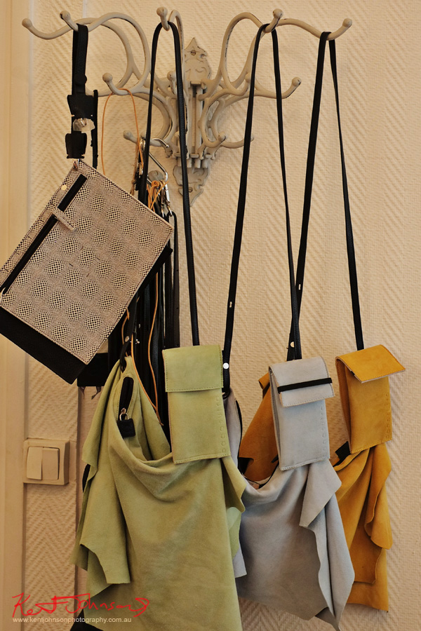 Soft leather handbags on display.  Photography by Kent Johnson.