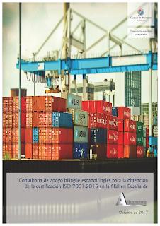 Portada del contrato por el que Cuevas y Montoto Consultores dará asesoramiento bilingüe (en español e inglés) a Alhammra Company Spain S.L. (filial del grupo gubernamental libio LAFICO) a certificarse bajo la norma ISO 9001 de Calidad