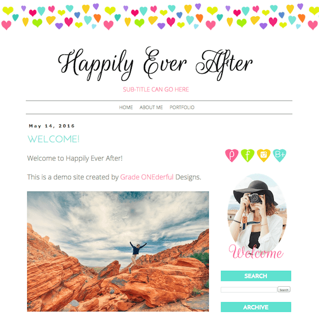 Pre-Made Blogger Template: Only $25, including installation. This blogger template is sweet and cheerful with colorful hearts in the top border.